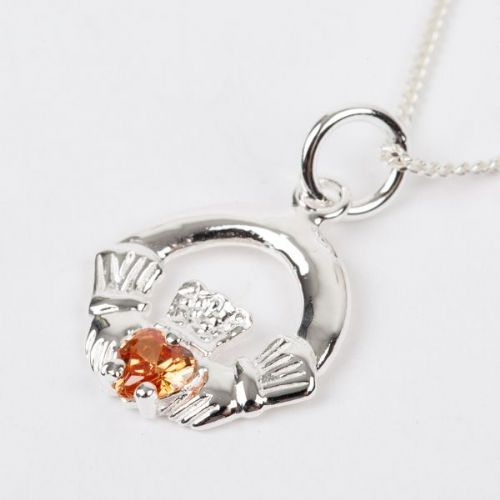 Sterling Silver Claddagh Birthstone Pendant with Citrine CZ